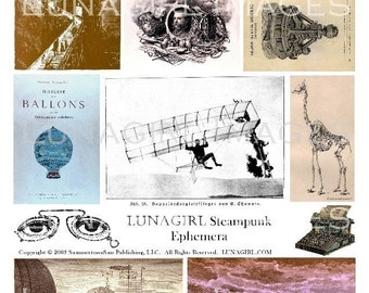 STEAMPUNK EPHEMERA collage sheet DOWNLOAD victorian images altered art vintage pictures cards science odd