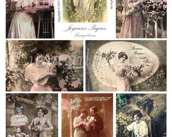 FRENCH EASTER CARDS digital collage sheet, download vintage photos Victorian images tinted postcards Ladies Girls Eggs, ephemera altered art