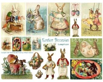 EASTER BUNNIES collage sheet DOWNLOAD altered art vintage Victorian  vintage images rabbits digital ephemera crafts