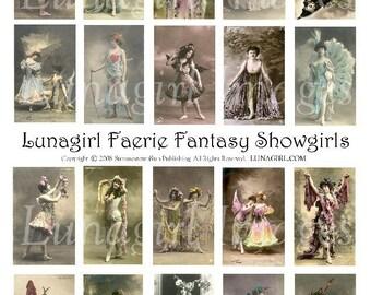 FAERIE FANTASY SHOWGIRLS collage sheet Download women photos French postcards altered art digital ephemera
