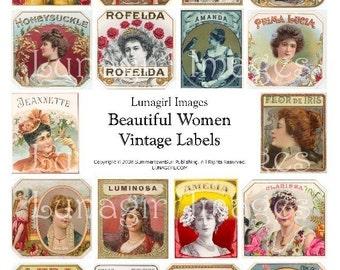 Antique LABELS WOMEN, digital collage sheet, vintage images, Victorian ladies girls, printable ephemera altered art, cigar box tags DOWNLOAD
