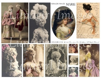 MARIE ANTOINETTE, digital collage sheet, vintage images, French, Paris, altered art ephemera DOWNLOAD