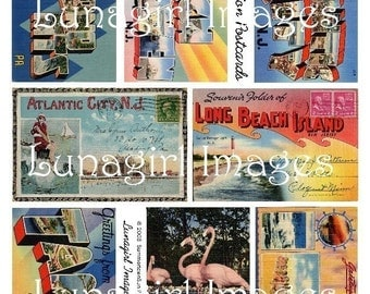 RETRO VACATION Postcards digital collage sheet DOWNLOAD vintage ephemera, colorful Americana kitsch, beach new jersey, Mid-Century art ads