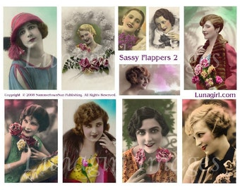 SASSY FLAPPERS digital collage sheet DOWNLOAD vintage images ephemera tinted photos French postcards tinted women girls sassy ladies 1920s