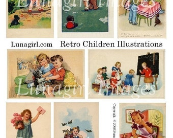 RETRO CHILDREN collage sheet digital DOWNLOAD vintage images 1930s 1940s 1950s mid-century illustrations kids altered art ephemera
