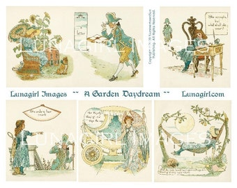 GARDEN DAYDREAM, digital collage sheet, fairy tales, vintage images, girl, princess, story book, fantasy, altered art ephemera DOWNLOAD
