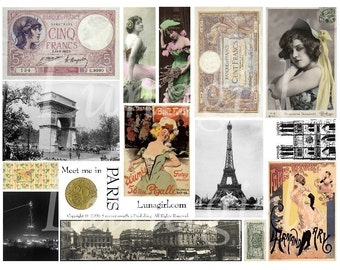 Meet Me in PARIS, digital collage sheet, vintage images, French photos women showgirls cabaret money altered art shabby ephemera DOWNLOAD