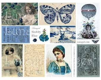 SHABBY BLUE digital collage sheet DOWNLOAD vintage images Victorian postcards French ephemera, photos altered art, butterfly carte girls