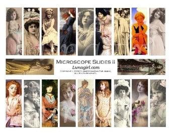 MICROSLIDES digital collage sheet DOWNLOAD pendants 1x3 vintage photos women girls altered art Victorian Edwardian ladies fantasy showgirls