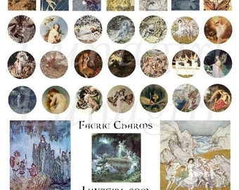 FAIRY MINIS collage sheet, Victorian fairies Faerie Charms DOWNLOAD inchies rounds altered art fantasy digital ephemera circles jewelry blue