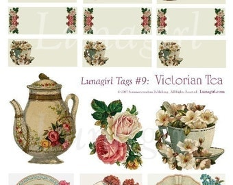 VICTORIAN TEA, Tags Digital collage sheet vintage images gift tags labels, blank antique teapots cups roses altered art ephemera DOWNLOAD