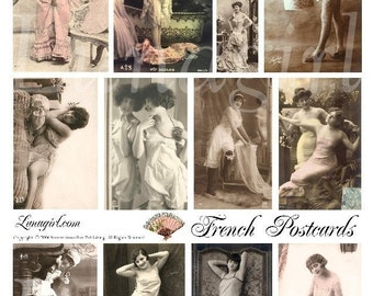 FRENCH POSTCARDS collage sheet DOWNLOAD vintage photos risque cards women flappers ladies Paris altered art digital ephemera pink shabby