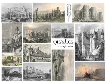 CASTLES collage sheet digital DOWNLOAD vintage images antique pictures ephemera backgrounds altered art cards Victorian fairy tales fantasy