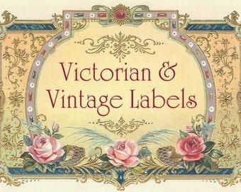 600 LABELS TAGS FRAMES, digital printables, Vintage Labels, Vintage Tags, antique Victorian Vintage ephemera, flowers Art Deco women birds