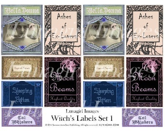 WITCHES LABELS, digital collage sheet, vintage images, halloween, potions, spells, tags, gothic, spooky, altered art, ephemera, DOWNLOAD