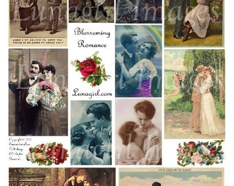 ROMANCE collage sheet digital DOWNLOAD couples flowers vintage images altered art ephemera kissing romantic Victorian cards