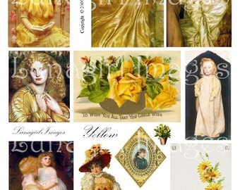 YELLOW collage sheet DOWNLOAD vintage images altered art digital ephemera autumn golden ladies flowers