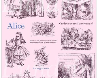 Alice in Wonderland, tinted digital collage sheet, CHOOSE YOUR COLOR, download vintage illustrations altered art ephemera 9 colors available