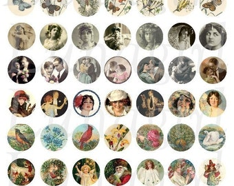 MINIS 2 collage sheet DOWNLOAD round craft circles charms vintage images photos digital art jewelry exotic women love birds butterflies