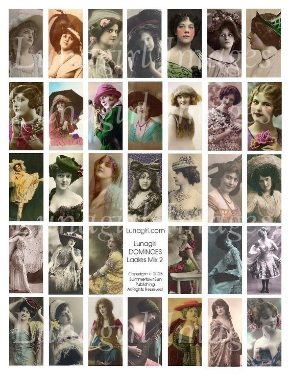 DOMINOES digital collage sheet DOWNLOAD Ladies Mix 2 vintage images women vintage photos girls flappers altered art ephemera pendant jewelry