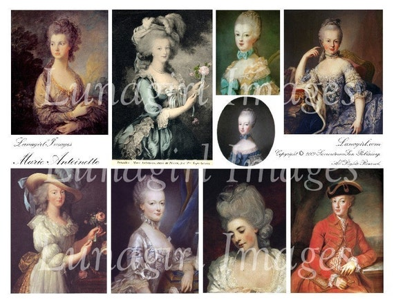MARIE ANTOINETTE digital collage sheet DOWNLOAD art paintings French women ladies vintage images Paris shabby altered art ephemera scrapbook