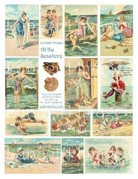 AT THE SEASHORE collage sheet download vintage images beach summer ladies women seashells ocean altered art digital ephemera