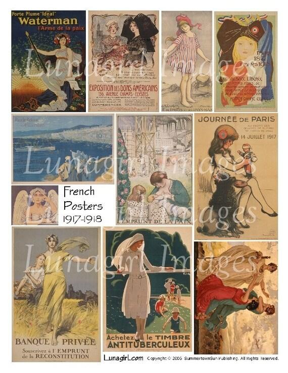 FRENCH POSTERS digital collage sheet DOWNLOAD vintage images ephemera Paris women girls altered art World War Edwardian era illustrations