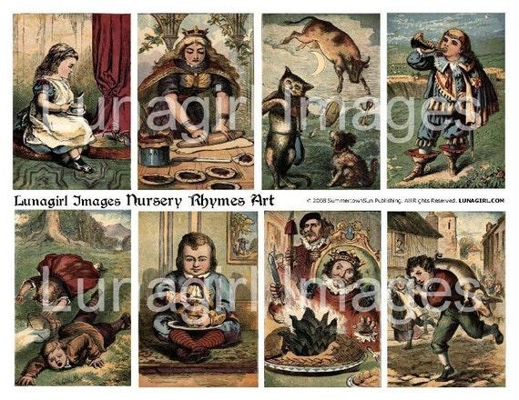 NURSERY RHYMES ART digital collage sheet vintage images Victorian fairy tales children's book illustrations Mother Goose children Download