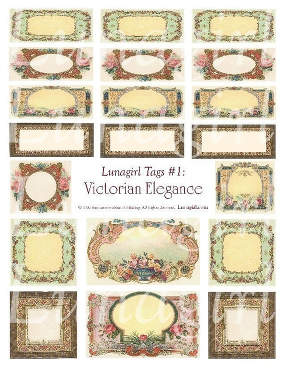 VICTORIAN ELEGANCE printable tags DOWNLOAD digital collage sheet vintage images vintage style labels frames antique French gift tags u-print