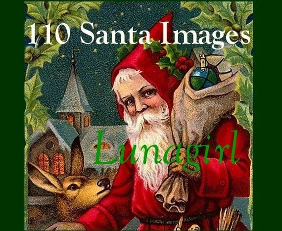 110 SANTA CLAUS vintage images, Christmas digital DOWNLOAD, Victorian postcards printables holiday crafts cards art St Nicholas Father Noel