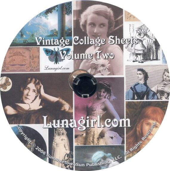 25 digital COLLAGE SHEETS on CD - Set Two - vintage images photos Victorian ephemera printables for altered art crafts cards scrapbooking