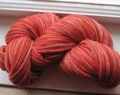 Handpainted laceweight merino 880 yds 100g rich tomato reds