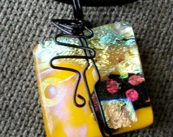 wire wrapped dichroic collage pendant fused yellow