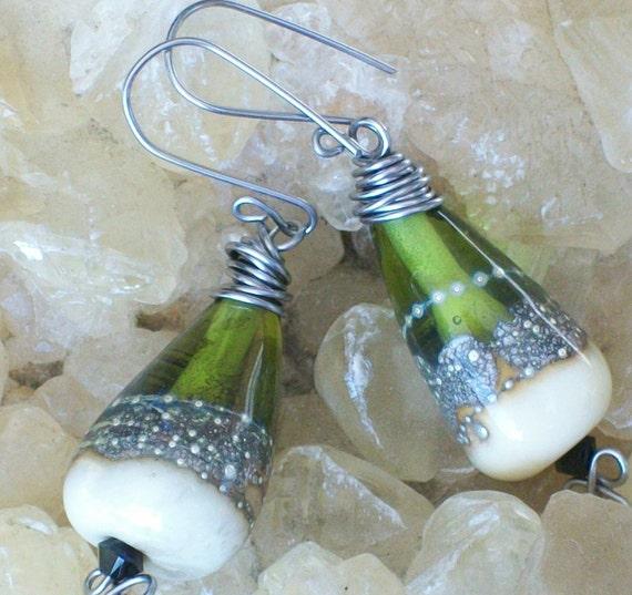 transparent olive green silvered teardrop lampwork earrings
