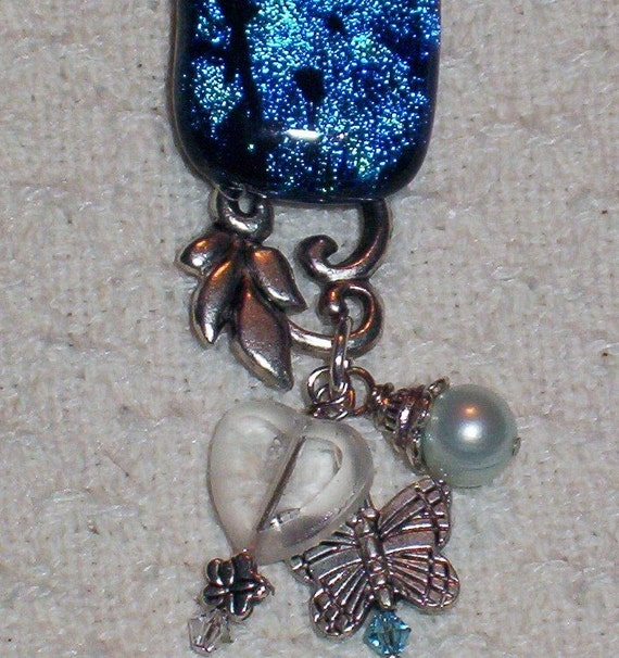 fused dichroic glass pin with charm dangle heart charming pin