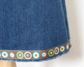 SALE Raw Hem Denim Bullseye Skirt - Size Medium (4-6)