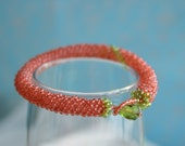 Pink and Green Glass Beaded Coil Bracelet