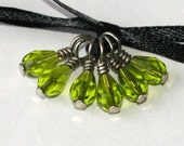 Peridot Elegance Glass Beaded Stitch Markers for Socks or Lace - Set of 6