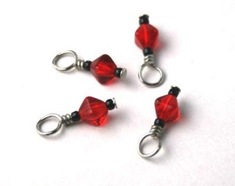 Red Glass Beaded Stitch Markers for Socks or Lace - Set of 4