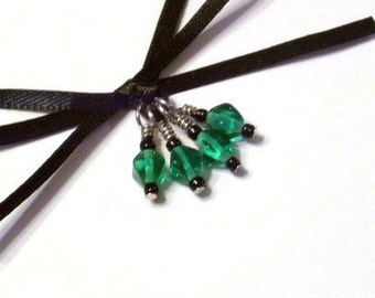 Green Glass Beaded Stitch Markers for Socks or Lace - Set of 4