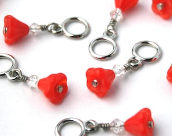 Red Flowers Glass Beaded Stitch Markers - Set of 8