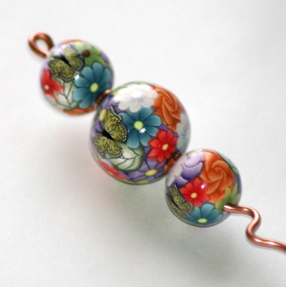 Copper and Polymer Clay Orifice Hook - Multi Color Floral with Butterflies