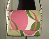 Pink and Green SASSY Ovals & Stripes 9-Pocket Messenger Bag
