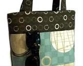 Spa Blue and Brown Retro Circles Multi Pocket Day Diaper Bag or Tote Purse by Sylvia Designs