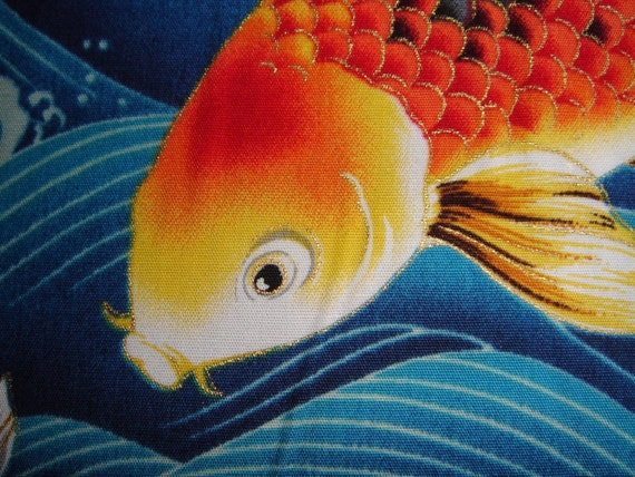 Yardage fabric kona bay empress collection 16 koi fish for Koi fish material