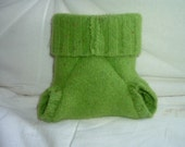 very small green diaper cover- wool