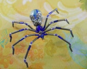 Beaded Blue Marble Spider Pin