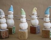 Hand carved snowman - Unique Holiday Figurine- Modern Vintage Folk Art