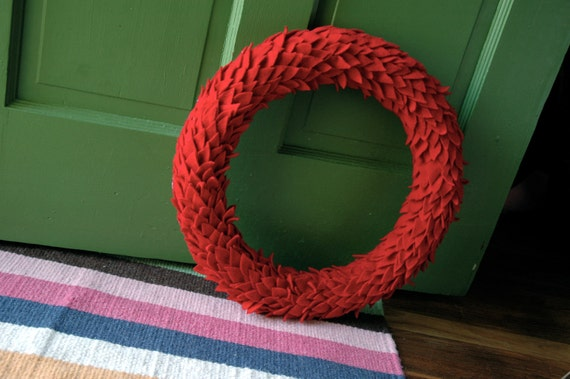 Red Red Red Wreath -from Design Sponge at Home