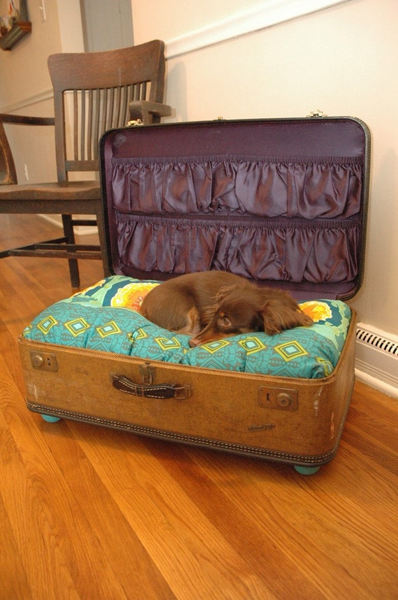 Suitcase Pet Bed with old stickers